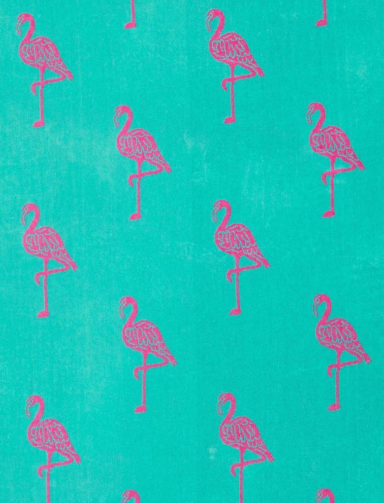 Pembe Flamingo Desenli Plaj Havlusu