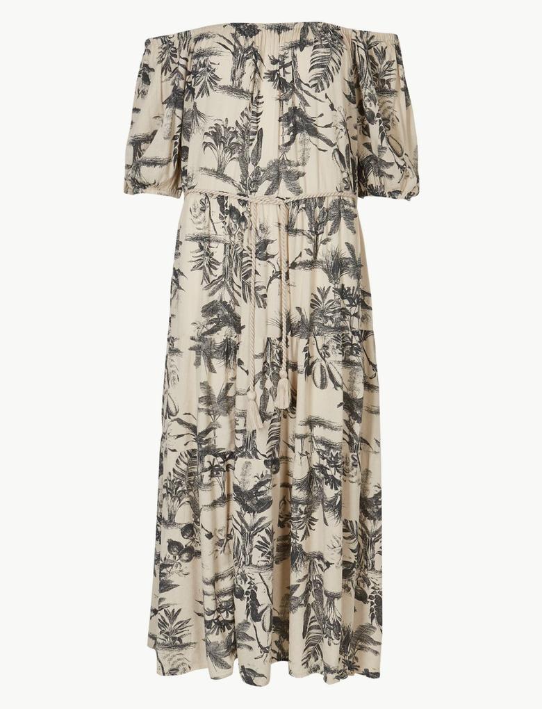 Kadın Krem Kısa Kollu Desenli Midi Elbise