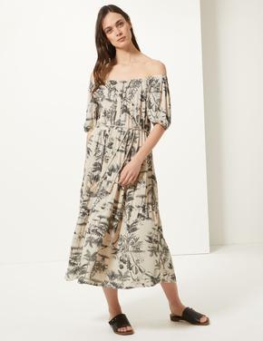Kısa Kollu Desenli Midi Elbise