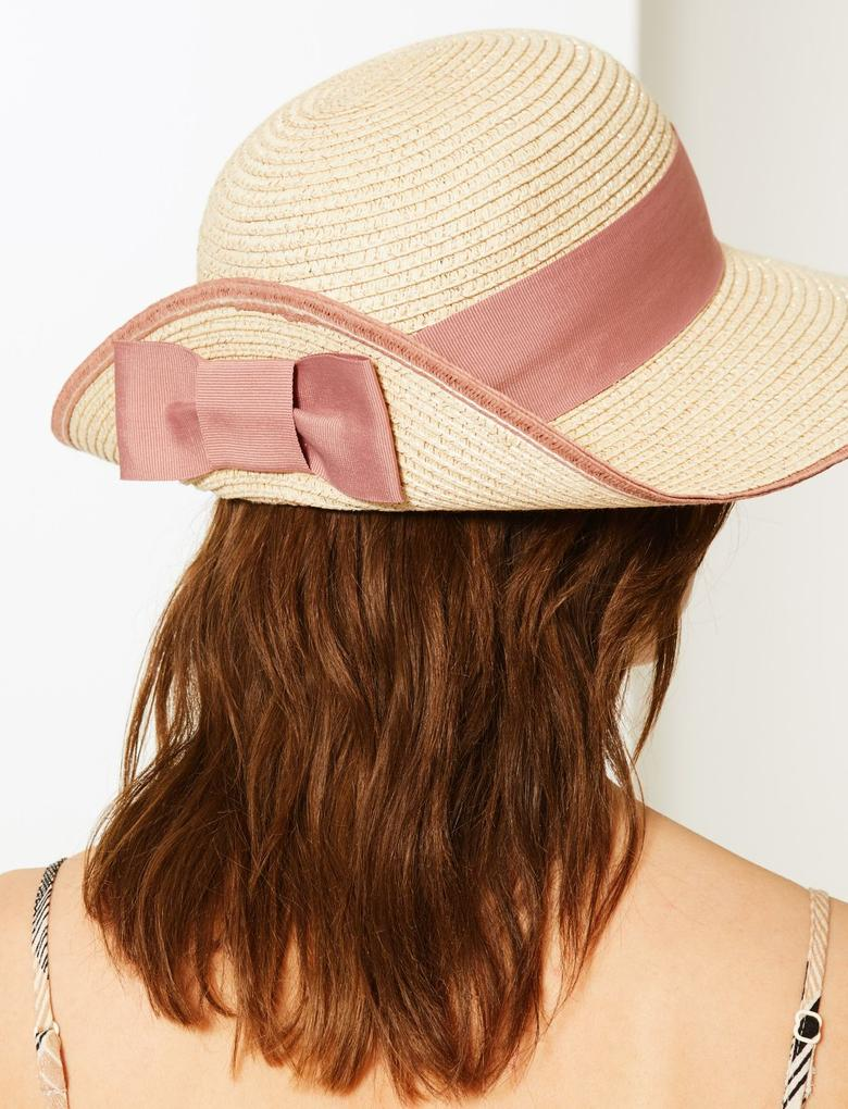 Kadın Kırık beyaz Fiyonklu Hasır Şapka