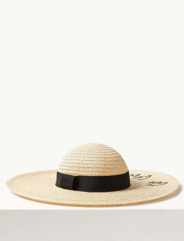 """Kadın Multi Renk """"To The Beach"""" Hasır Şapka"""
