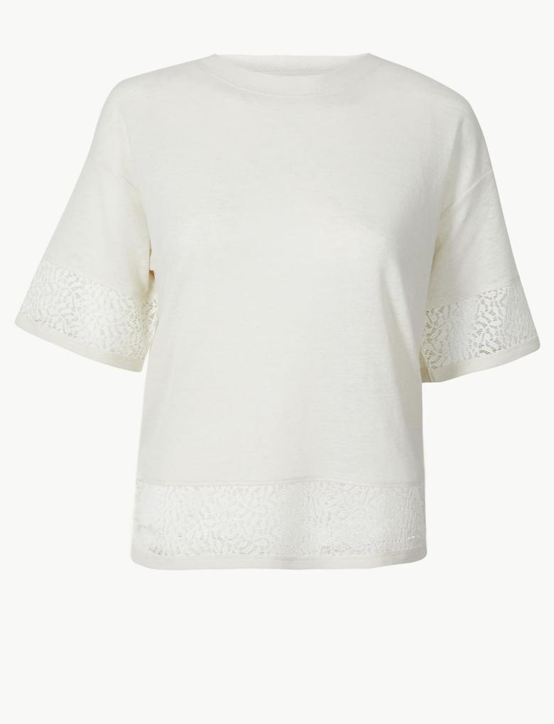 Dantelli Yuvarlak Yaka Kısa Kollu T-Shirt