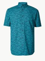 Saf Pamuklu Balık Desenli Gömlek