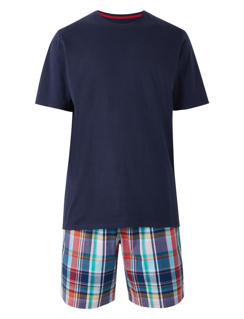 Lacivert Saf Pamuklu Kareli Şortlu Pijama Takımı