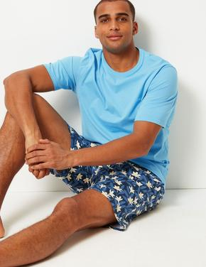 Saf Pamuklu Desenli Şortlu Pijama Takımı