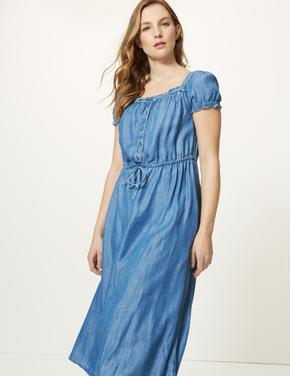 Yakası Düğmeli Midi Elbise