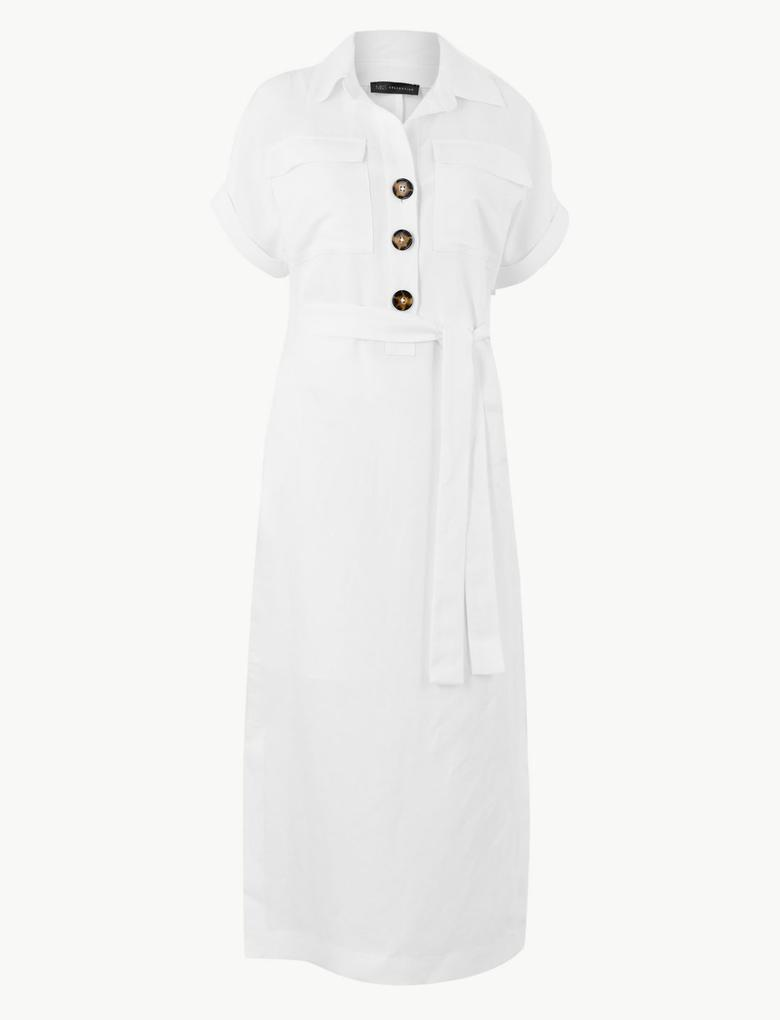 Kadın Beyaz Keten Karışımlı Cepli Midi Gömlek Elbise