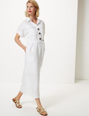 Keten Karışımlı Cepli Midi Gömlek Elbise