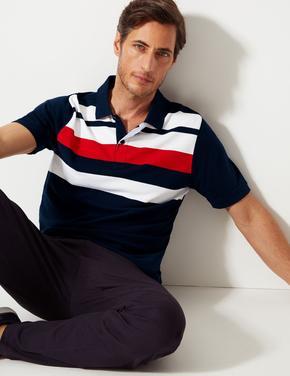 Saf Pamuklu Çizgili Polo T-shirt