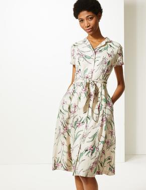 Saf Pamuklu Çiçek Desenli Midi Elbise