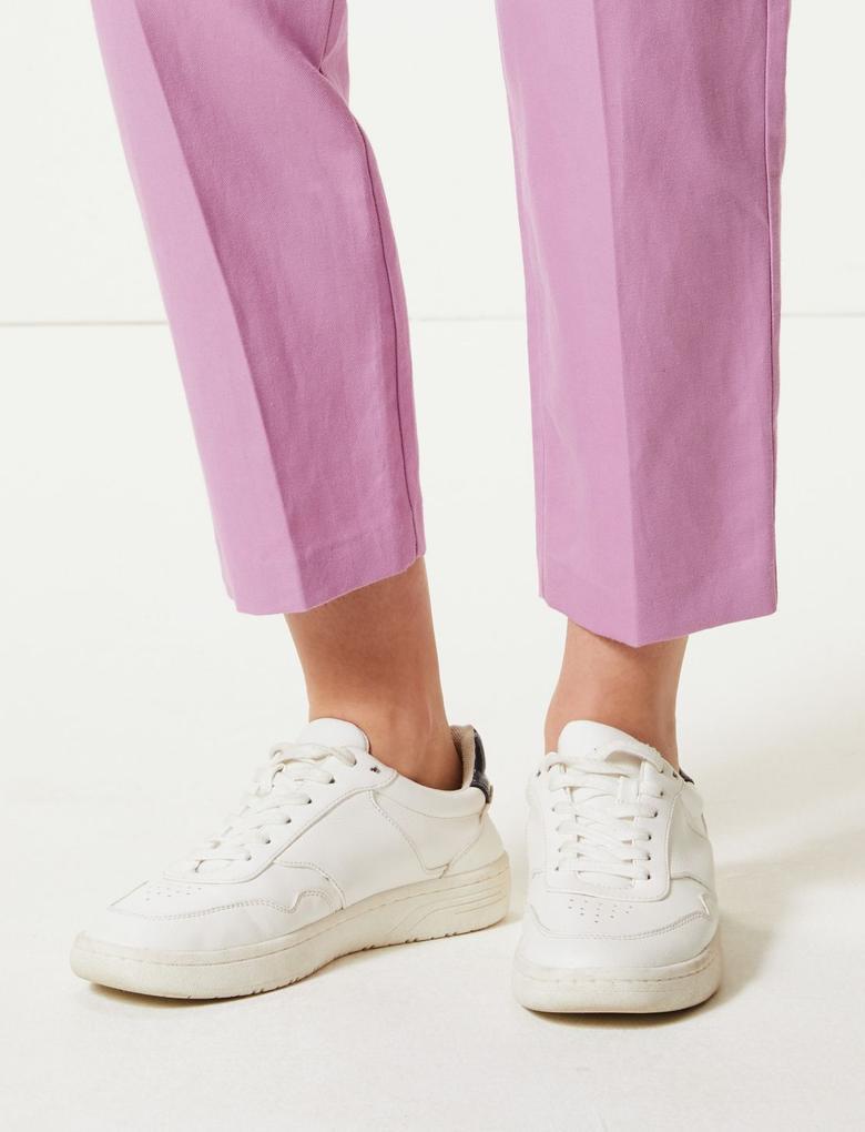 Keten Karışımlı Straight Paça Kısa Pantolon