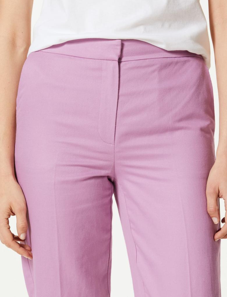 Kadın Pembe Keten Karışımlı Straight Paça Kısa Pantolon