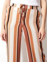 Kadın Mor Çizgili Wide Leg Dökümlü Pantolon