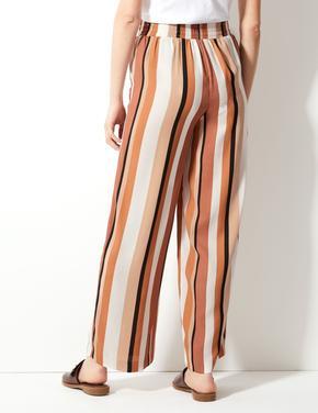Mor Çizgili Wide Leg Dökümlü Pantolon