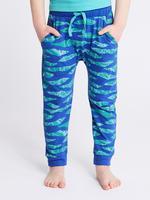 Yeşil Saf Pamuklu Desenli Pijama Takımı