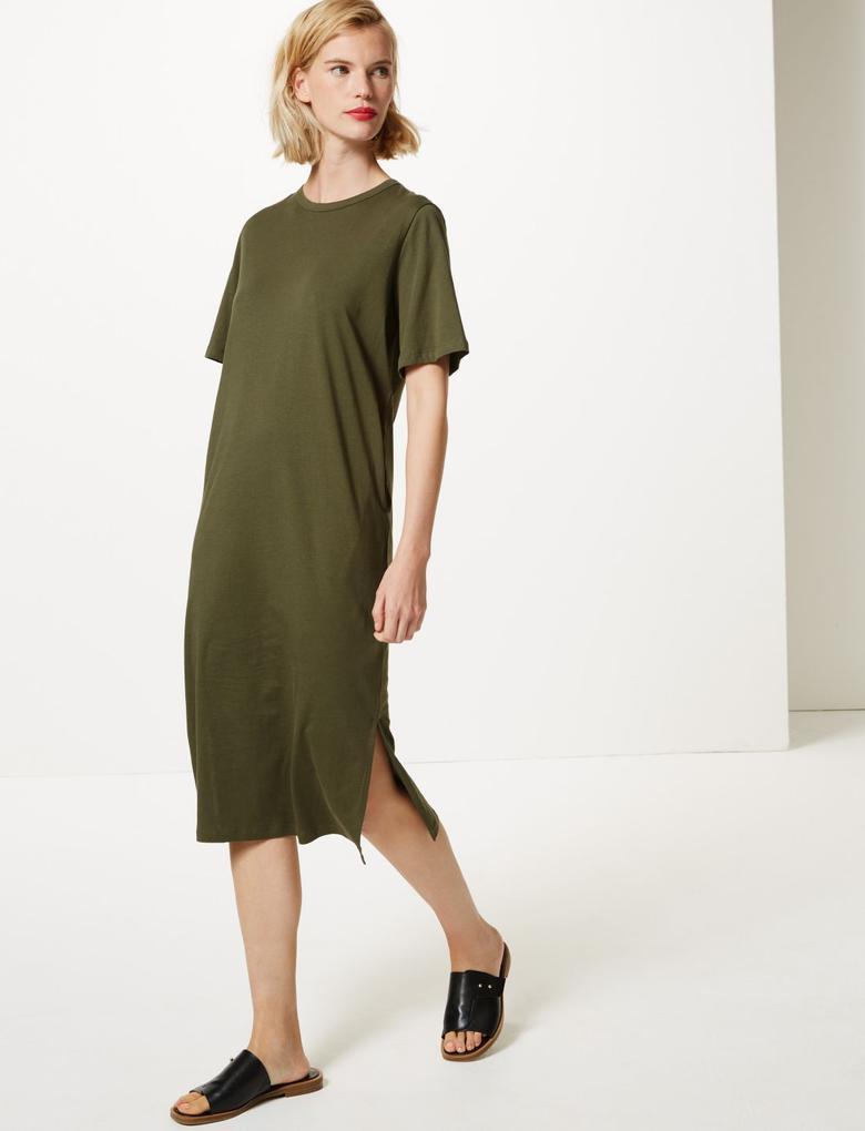 Saf Pamuklu Kısa Kollu Midi Elbise