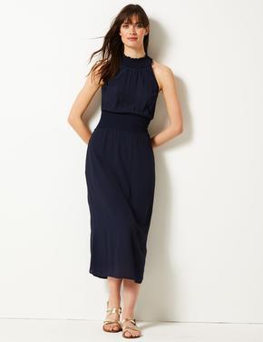 Kadın Lacivert Kolsuz Midi Elbise
