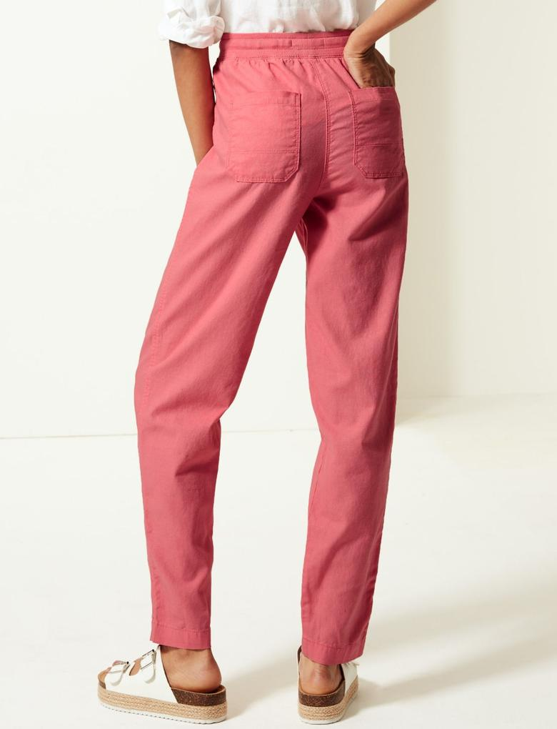 Kadın Pembe Keten Karışımlı Tapered Peg Pantolon