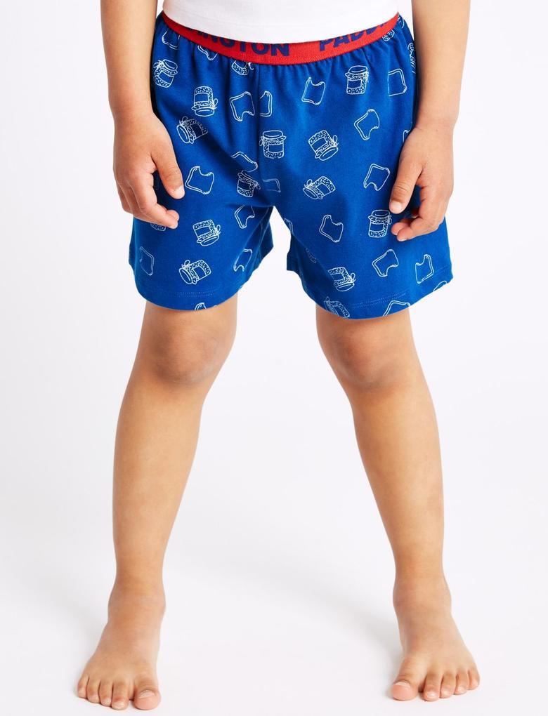 Paddington Saf Pamuklu Şortlu Pijama Takımı
