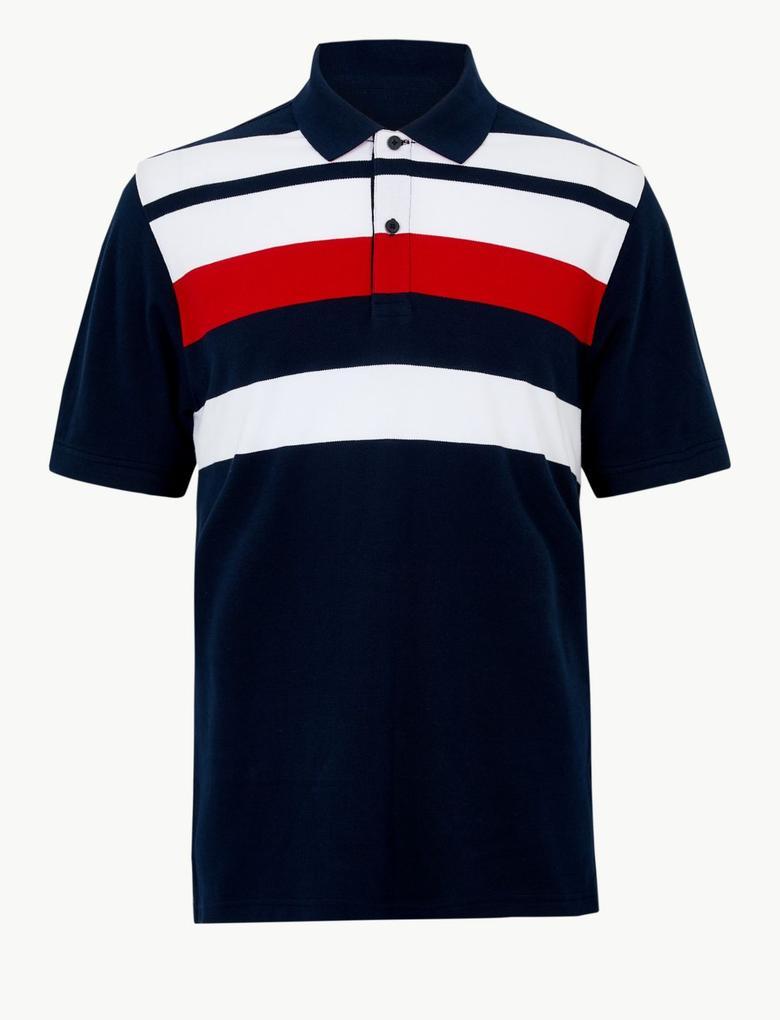 Lacivert Saf Pamuklu Çizgili Polo T-shirt