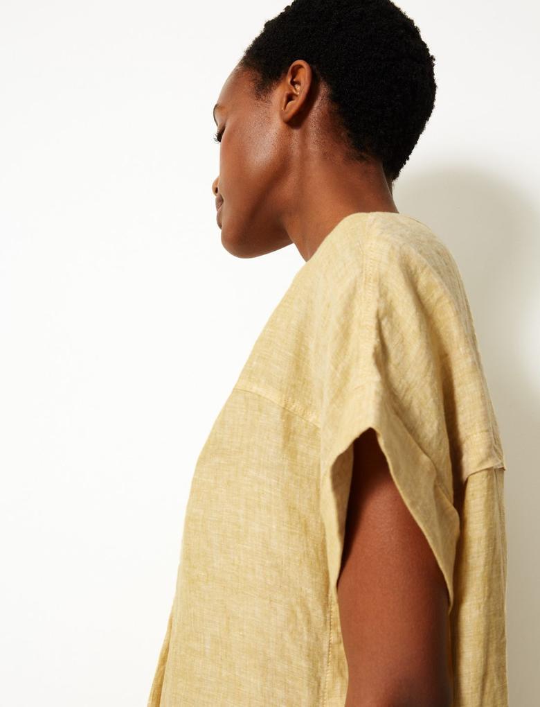 Sarı Saf Keten Kısa Kollu Gömlek