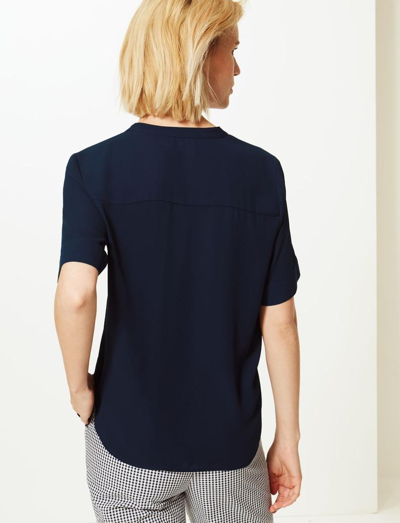 Lacivert Düğme Detaylı Kısa Kollu Gömlek
