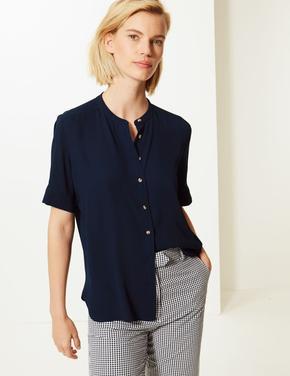 Kadın Lacivert Düğme Detaylı Kısa Kollu Gömlek