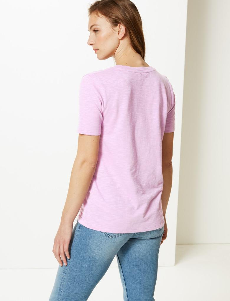Kadın Pembe Pamuklu V Yaka T-Shirt