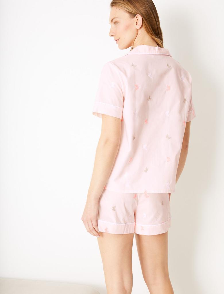 Kadın Pembe Saf Pamuklu Kelebek Desenli Şortlu Pijama Takımı