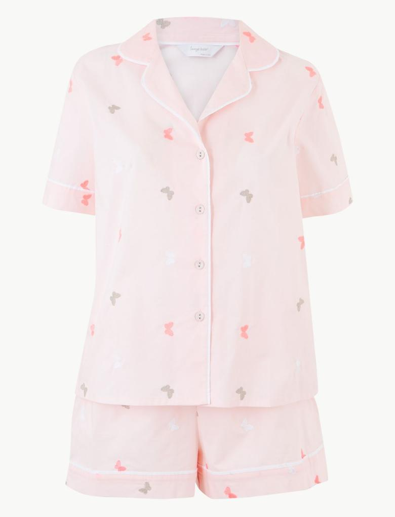Saf Pamuklu Kelebek Desenli Şortlu Pijama Takımı