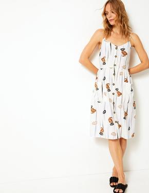 Çiçek Desenli İnce Askılı Elbise