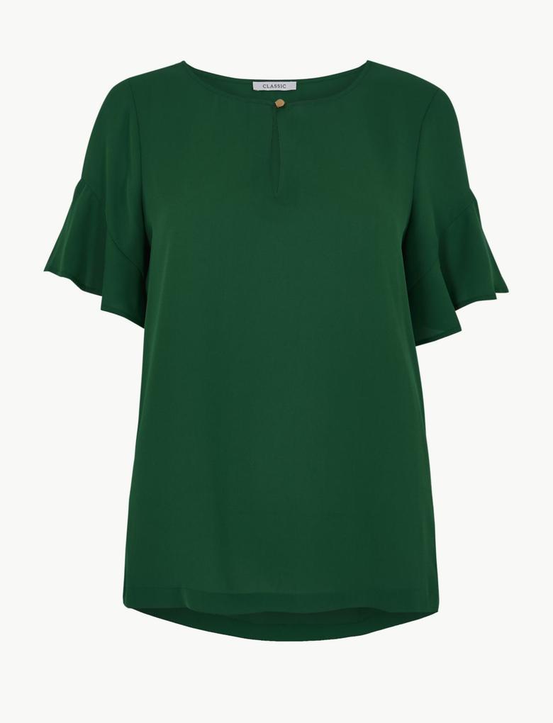 Kadın Yeşil Kolları Fırfırlı Bluz