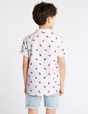 Pamuklu Yaprak Desenli Gömlek
