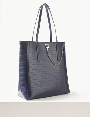 Kadın Lacivert Zincir Detaylı Shopper Çanta