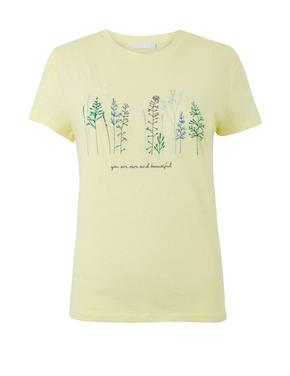 Keten-Pamuk İşlemeli T-shirt