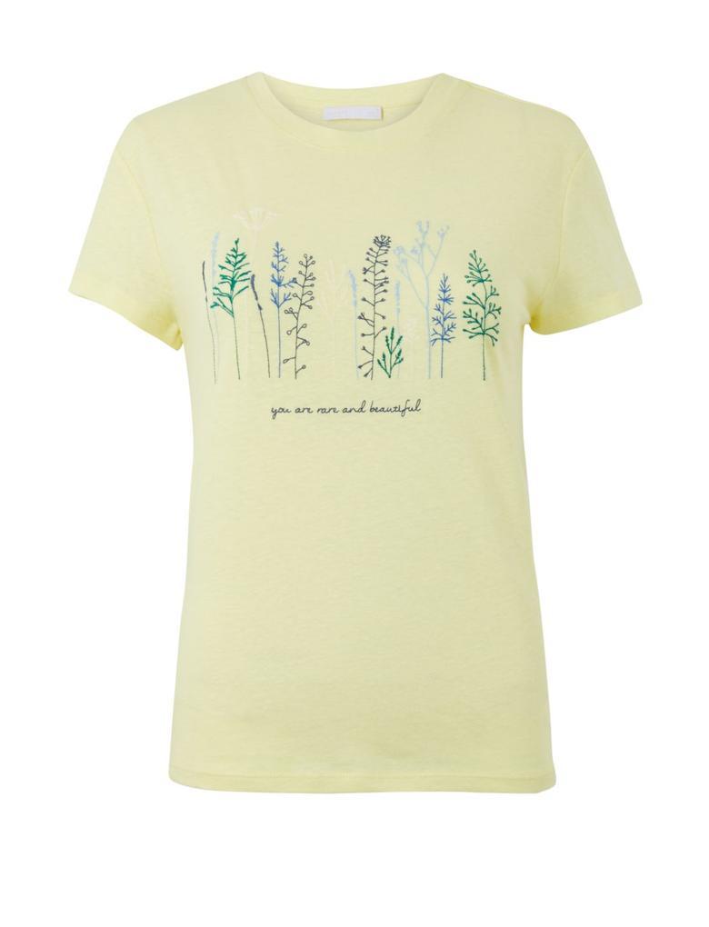 Kadın Sarı Keten-Pamuk İşlemeli T-shirt