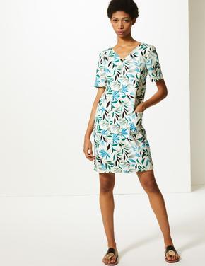 Krem Yaprak Desenli Elbise