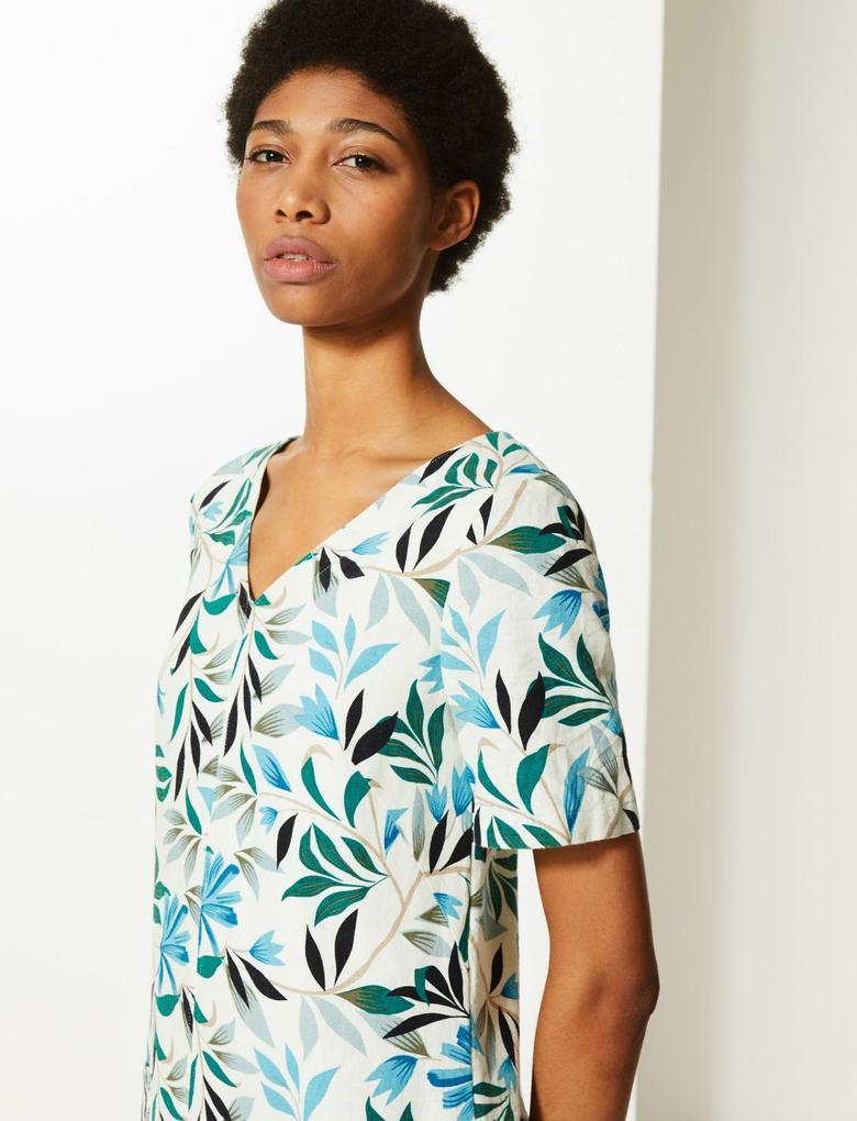 Yaprak Desenli Elbise