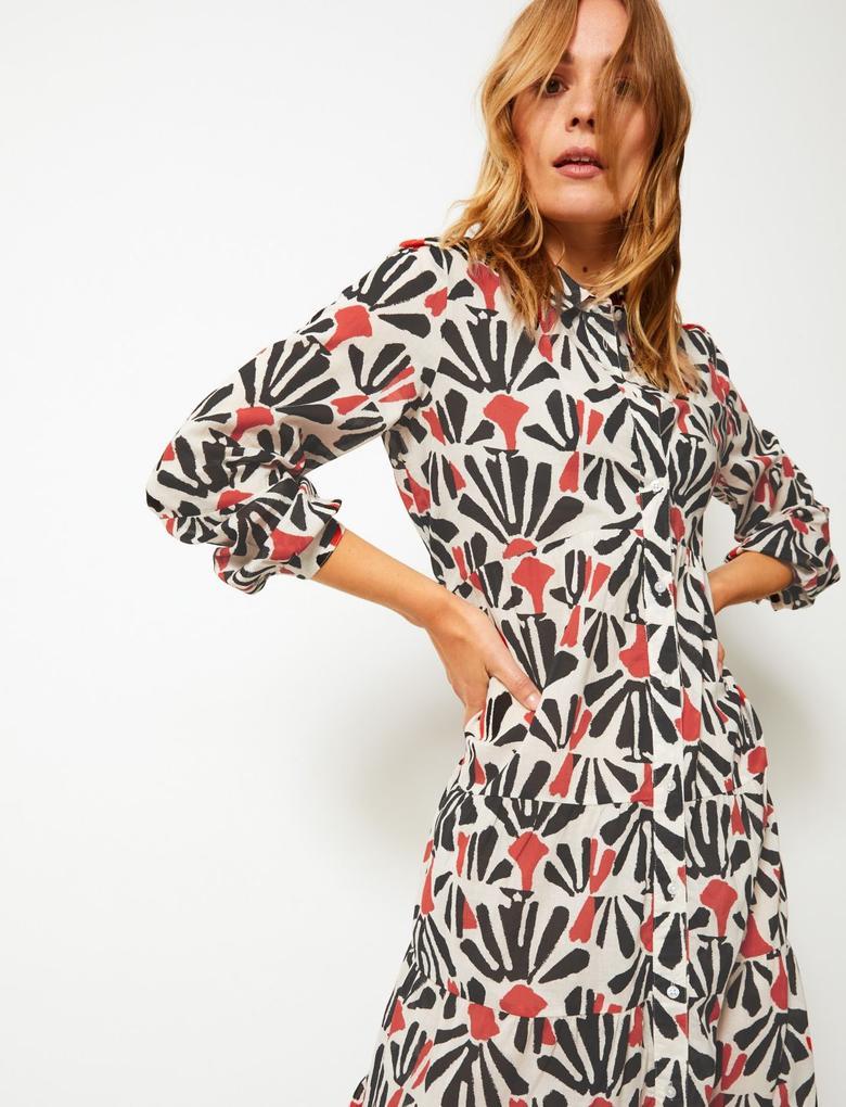 Desenli Önü Düğmeli Gömlek Elbise