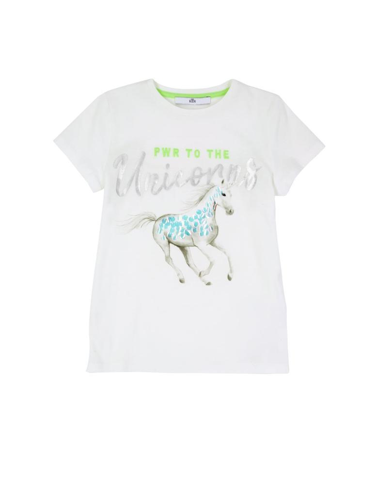 Kız Çocuk Beyaz Unicorn T-shirt