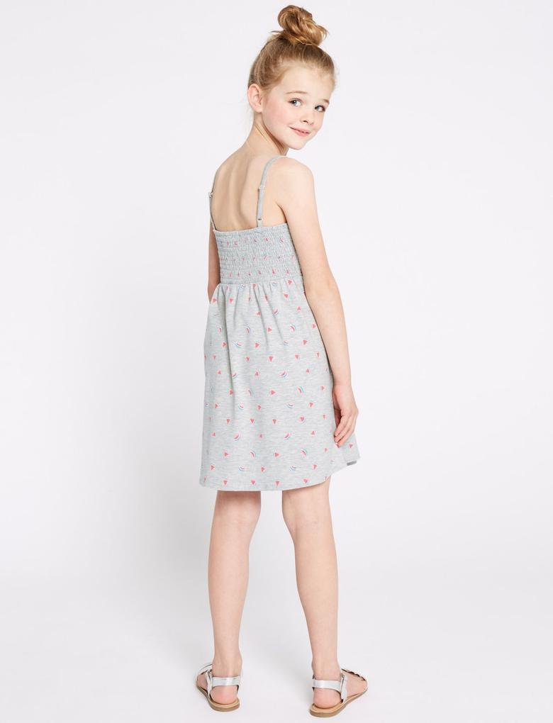 Desenli İnce Askılı Elbise