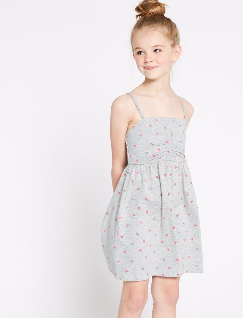 Kız Çocuk Gri Desenli İnce Askılı Elbise