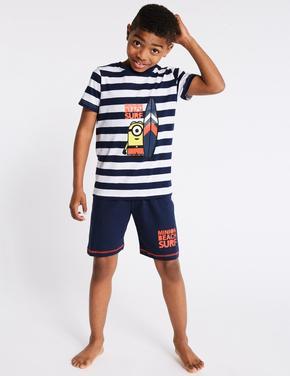 Erkek Çocuk Lacivert Despicable Me Minion Şortlu Pijama Takımı