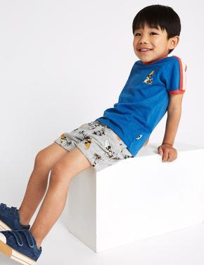Erkek Çocuk Mavi Mickey Mouse Şort T-shirt Takımı