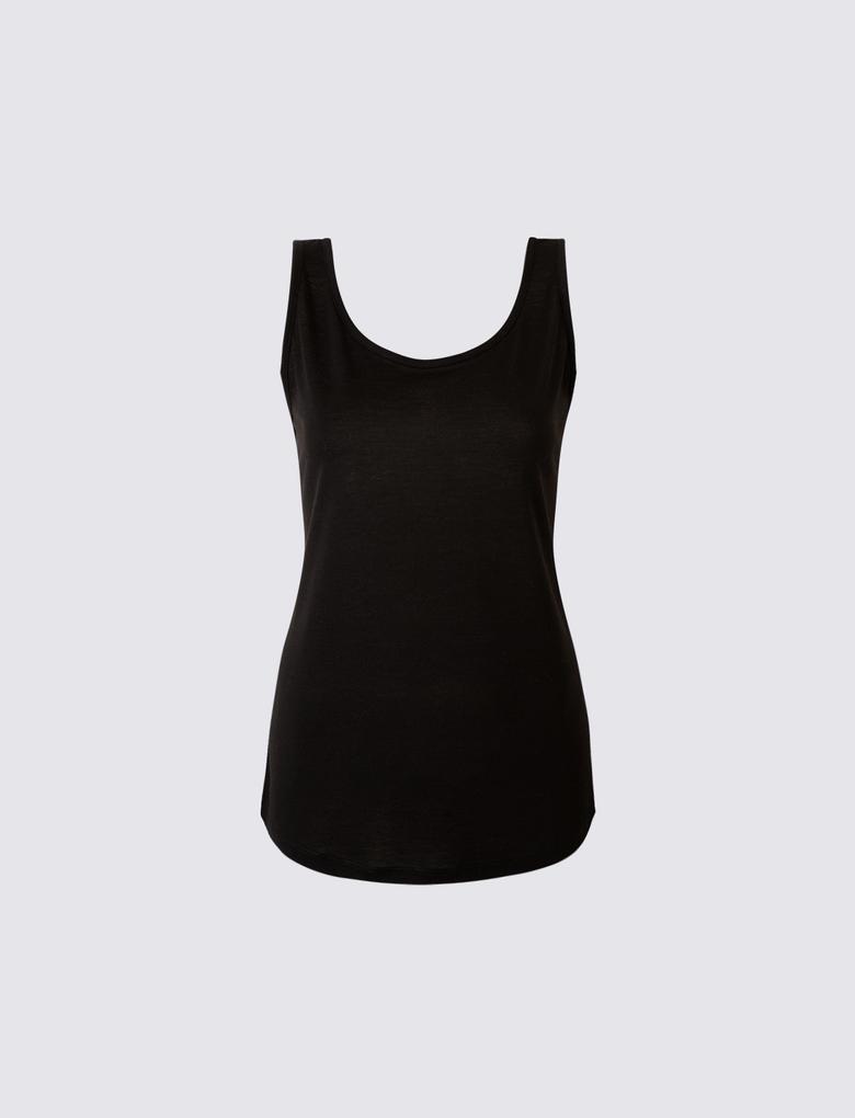 Siyah Yuvarlak Yaka Kolsuz Bluz
