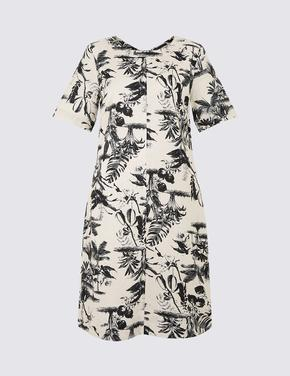Desenli Saf Keten Mini Gömlek Elbise
