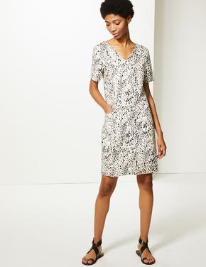 Keten Karışımlı Desenli Shift Elbise