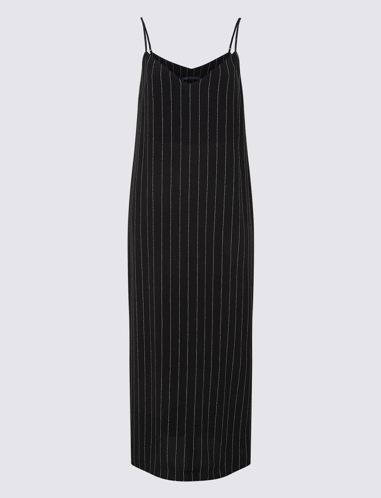 Çizgili Slip Midi Elbise