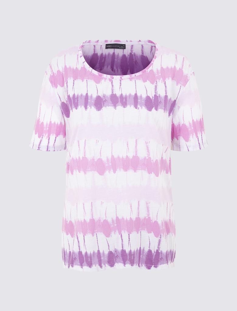 Kadın Mor Batik Desenli T-Shirt