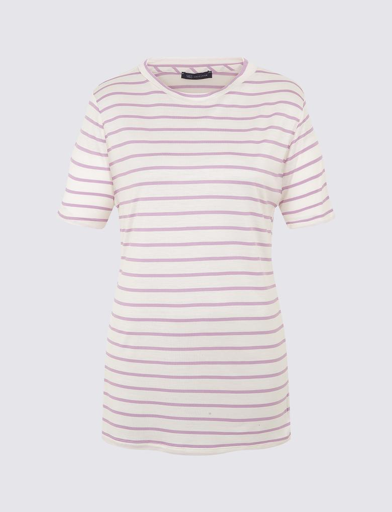 Kadın Mor Desenli Kısa Kollu T-Shirt
